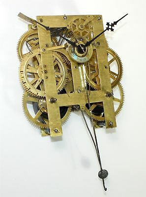 ANTIQUE AMERICAN 8 DAY CLOCK TIME & STRIKE MOVEMENT - w/ALARM for REPAIR - LL316
