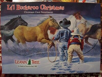 Leanin Tree Lg Christmas Card Set Western Li'l Buckaroo Horses Cowboys 20 Pk New