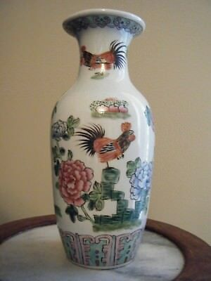 Chiese Porcelain Vase  Roosters And Flowers Marked