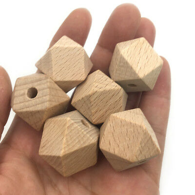Natural Beech Wood Hexagon Baby Teething Beads DIY Chew Teether Necklace Jewelry