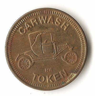 """Car Wash token, """"No Cash Value"""", Model T Ford, braas colored, quarter sized"""