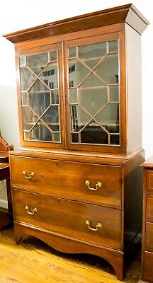 Antique 18th Century George III Bookcase on Chest - c.1790 - Shipping Available