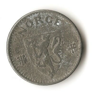Norway 25 ore 1943, Nazi occupation coin, World War Two Axis issue, small zinc