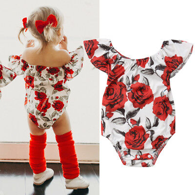 Floral Newborn Kid Baby Girl Off Shoulder Romper Jumpsuit Outfit Clothes Sunsuit