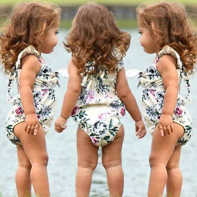 Newborn Baby Girl Flowers Off Shoulder Romper Jumpsuit Sunsuit Outfits Clothes