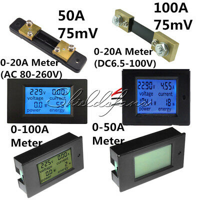 AC/DC 6.5~100V 20/50/100A LCD Combo Panel Display Volt Amp Power Watt Meter