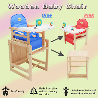 Adjustable Baby Highchair Portable Feeding Table Seat Childcare Eat Wooden Chair