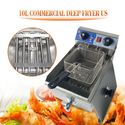 10L Commercial Electric Deep Fryer Restaurant Stainless Steel Fry Cooker Timer