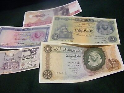 EGYPT..lot of 5  SCARCE  Large Size Banknotes.New & slightly used conditions.(D)