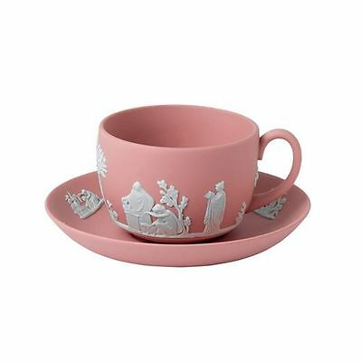 Wedgwood Jasperware Teacup and Saucer in Pink NEW in the Box Made in UK (S)