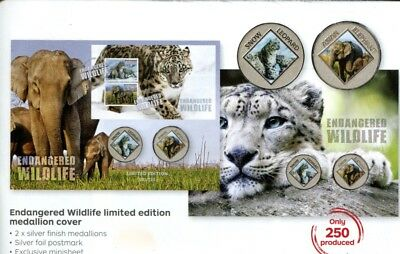 2016 Endangered Wildlife Leopard Elephant 2 Medallion PNC/FDC Ltd 75/250