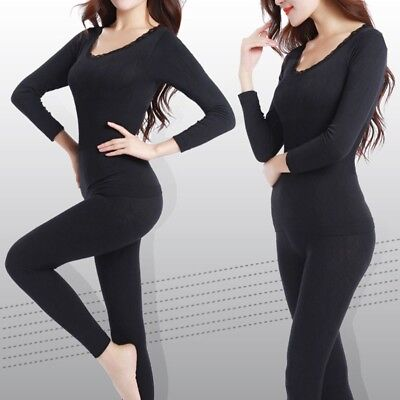 2Pcs Women Long Sleeve Thermal Underwear T-Shirt Top+Long Pants Set Warm Clothes