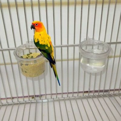 Round Clear Parrot Food Water Bowl Feeder Bird Pigeons Cage Cup Feeding Supplies