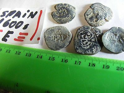 Lot of 5 genuine Spain  mid-1600s coins ,bronze..hand-struck,not machine made(E)