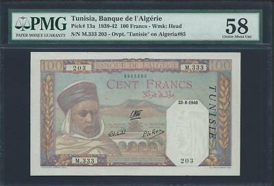 "1939-42 Tunisia 100 Francs From ""banque De  L'alg'erie""  Pick#13A Please  Lqqk!*"