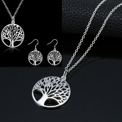 Womens 925 Silver Chain Tree Of Life Pendant Necklace Earrings Set Wedding Gifts