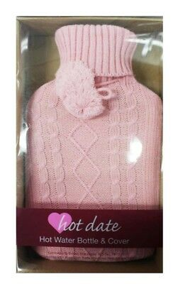 Hot Date Hot Water Bottle & Cover Pink - New