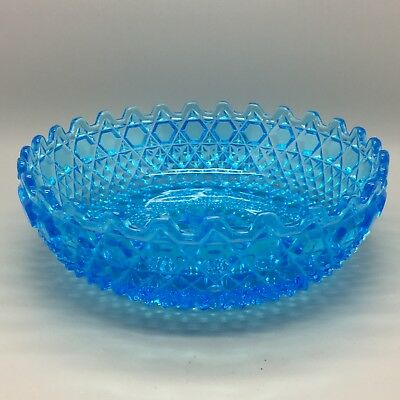 """Large Sowerby """"Chunky"""" Blue Carnival Glass Bowl."""