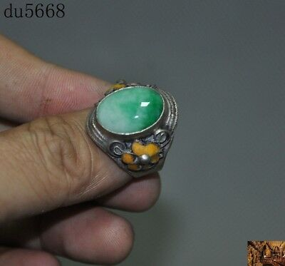 collect Chinese tibet silver Cloisonne Natural jade carved flower Ring statue