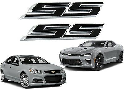 PAIR Black SS Emblems 3M Stick On Fender Door Grill Trunk New Free Shipping USA