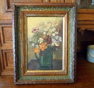 Antique Floral Still Life Painting 1880s Oil Canvas Board Rare Victorian Flowers