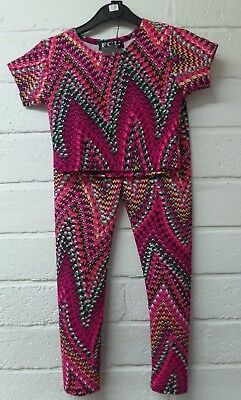 Kids Girls Multicolored Jazzy Aztec Cropped Top & Legging Dance  Set Co Ord 7-13