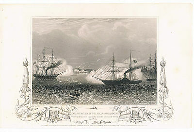Engraving Gallant Affair Of The Hecla And Arrogant 20Th May 1854 Engrvd H Bibby