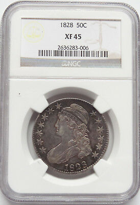 50c 1828 Bust Half, NGC XF-45, Square base 2, small 8, large letters