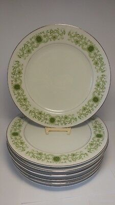 "Set of SEVEN Towne House Green Dale 3077 10 1/2"" Dinner Plates"