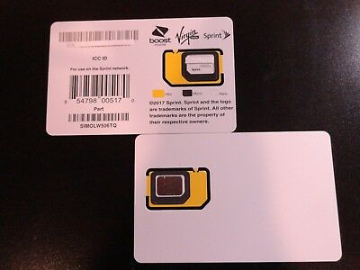 New Sprint Simolw506Tq  Byod Triple Cut Sim Card Boost,tello,ting