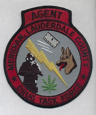 DROGEN DRUG TASK FORCE Agent Polizei Abzeichen Police Patch Lauderdale Miss.