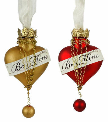 "Bethany Lowe ""Be Mine"" Valentines Day Heart Ornament Set of 2"
