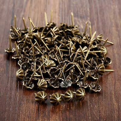 Vintage Bronze Iron Upholstery Tacks Studs Pins Nails Furniture Hardware 100Pcs