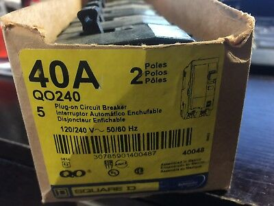 Square-D-Qo240-Plug-In-Circuit-Breaker-2-Pole-40-Amp-120-240V-New-Box-Of-5