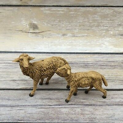 Vintage Fontanini Nativity - Depose Italy Lot of 2 Sheep Figurines 2.25""