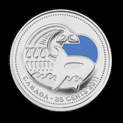 colour  25cent coins  UNC from roll 2011 Canada Orca Whale regular