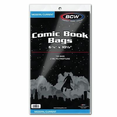 BCW Comic Bags (Current/Silver/Gold/Mag) (100/200/500/1000)( Regular/Resealable)