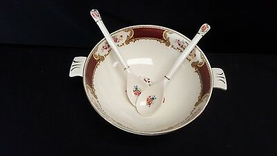 Myott Staffordshire The Bouquet Maroon Salad Bowl & Pair of Salad Tongs