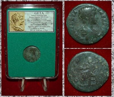 Ancient Roman Empire Coin GETA Securitas On Reverse Limes Denarius