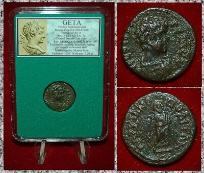 Ancient Roman Empire Coin GETA Aesklepios And Snake On Reverse