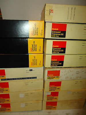 15 Kodak Carousel Transvue 11-140 COUNT& FOUR 80 Slide Trays in Great Condition!