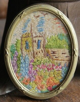 Miniature Antique Framed Stitchwork/Embroidery - House & Garden