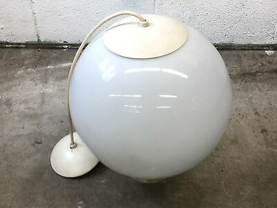 Vintage Mid Century Modern Hanging Glass White Orb Globe Ceiling Light