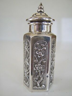 Rare Old Antique Solid Silver Pepperette Silver Marks To Base Chinese / Japanese