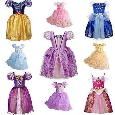 Kids Girls Costume  Princess Beautiful Dress Up Belle Cinderella Aurora Rapunzel