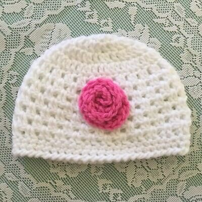 Crochet Baby Girl Beanie Newborn To 3 Months