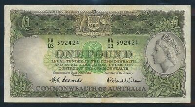 "Australia: 1953 FIRST ISSUE QEII £1 ""Commonwealth Bank"" Title. Cat EF $160"