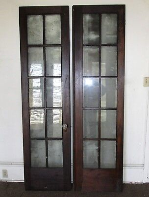 "10 Lite Estate Find French Wood Door Glass Architectural Vintage 24"" x 90"" Ea,."