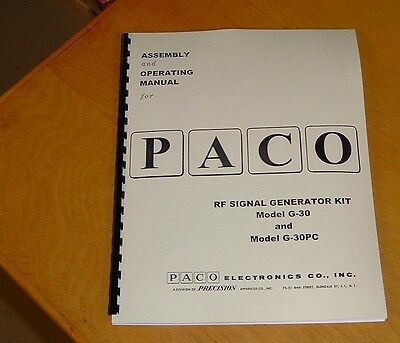 new remastered MANUAL for Precision PACO Signal Generator G-30 G-30PC