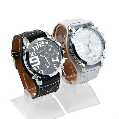 New Cool Leather Band Over Size Big Face Men Boys Sport Quartz Wrist Watch GiGP